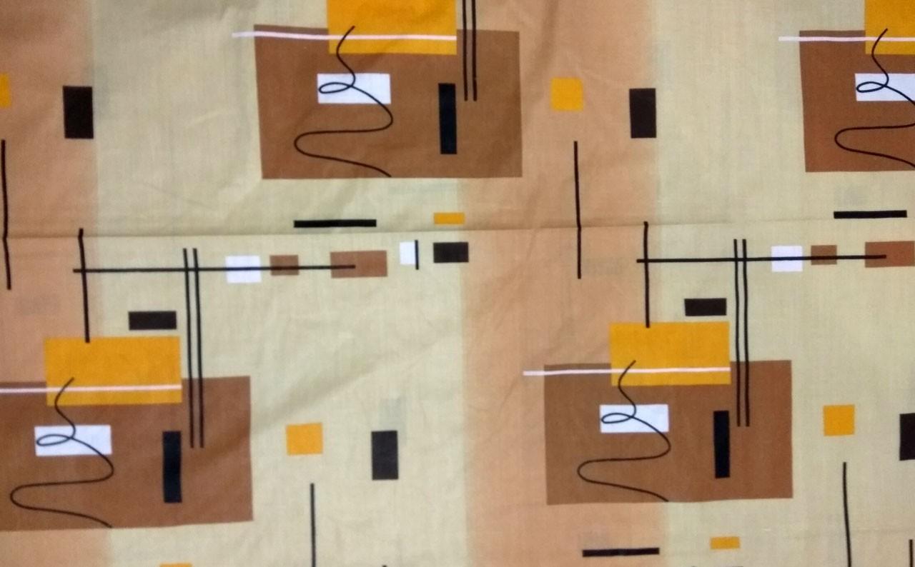 Ткань для постели бязь бежевая с коричневым рисункам