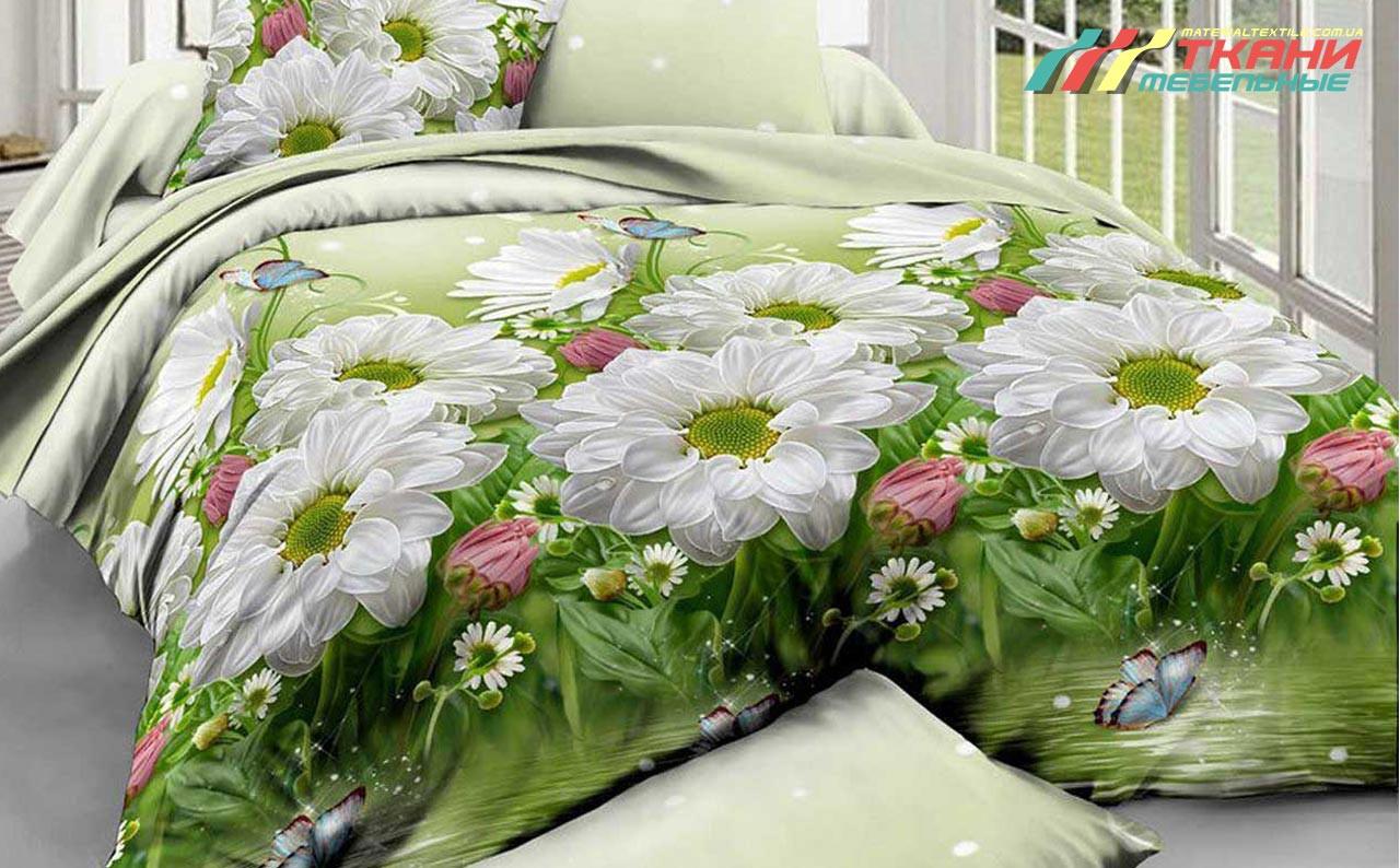 Ткань для постельного бязь Белые цветы на зеленом