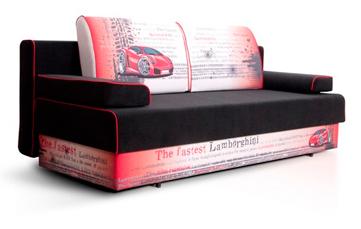 диван в детскую в ткани с машинками