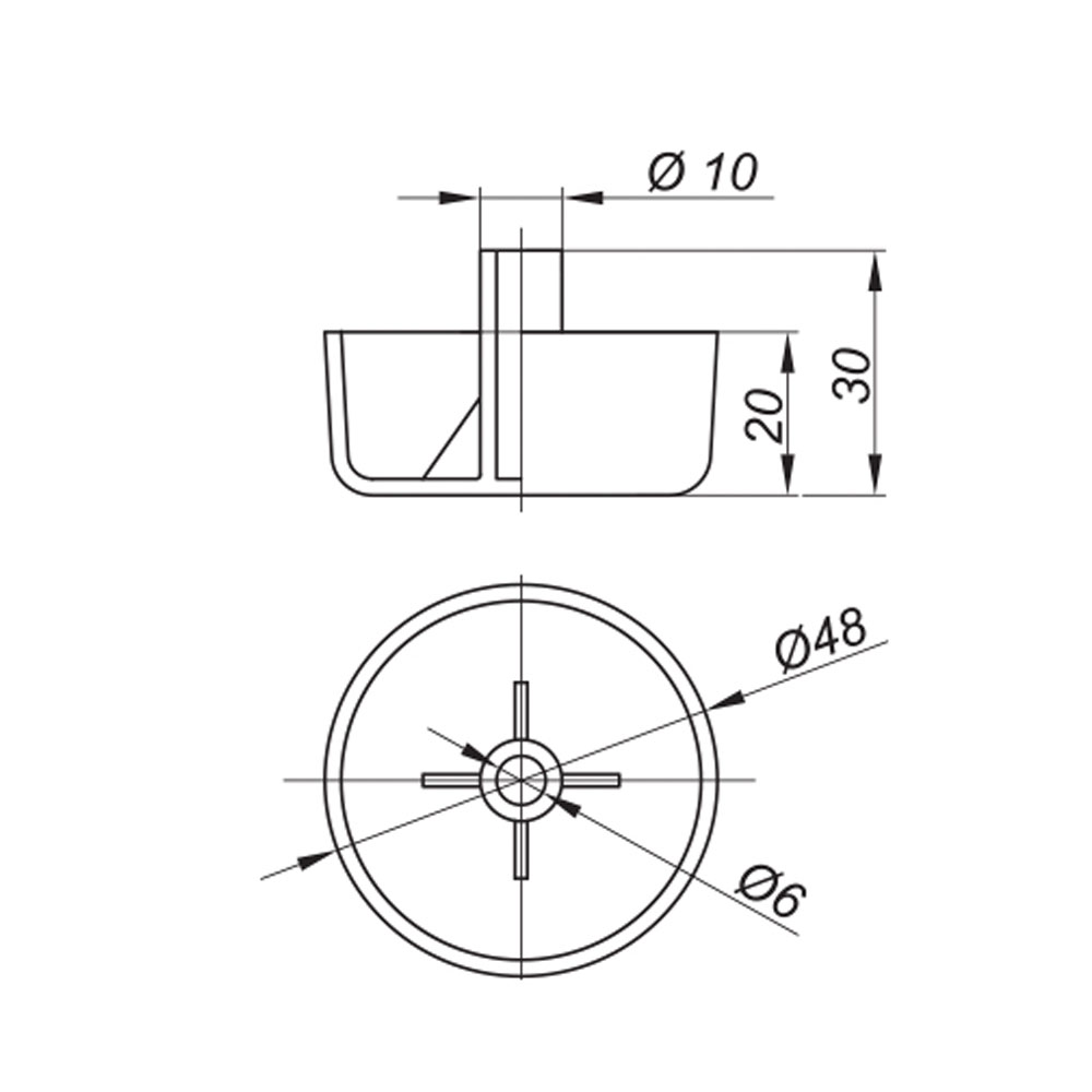 опора мебельная пластиковая круглой формы