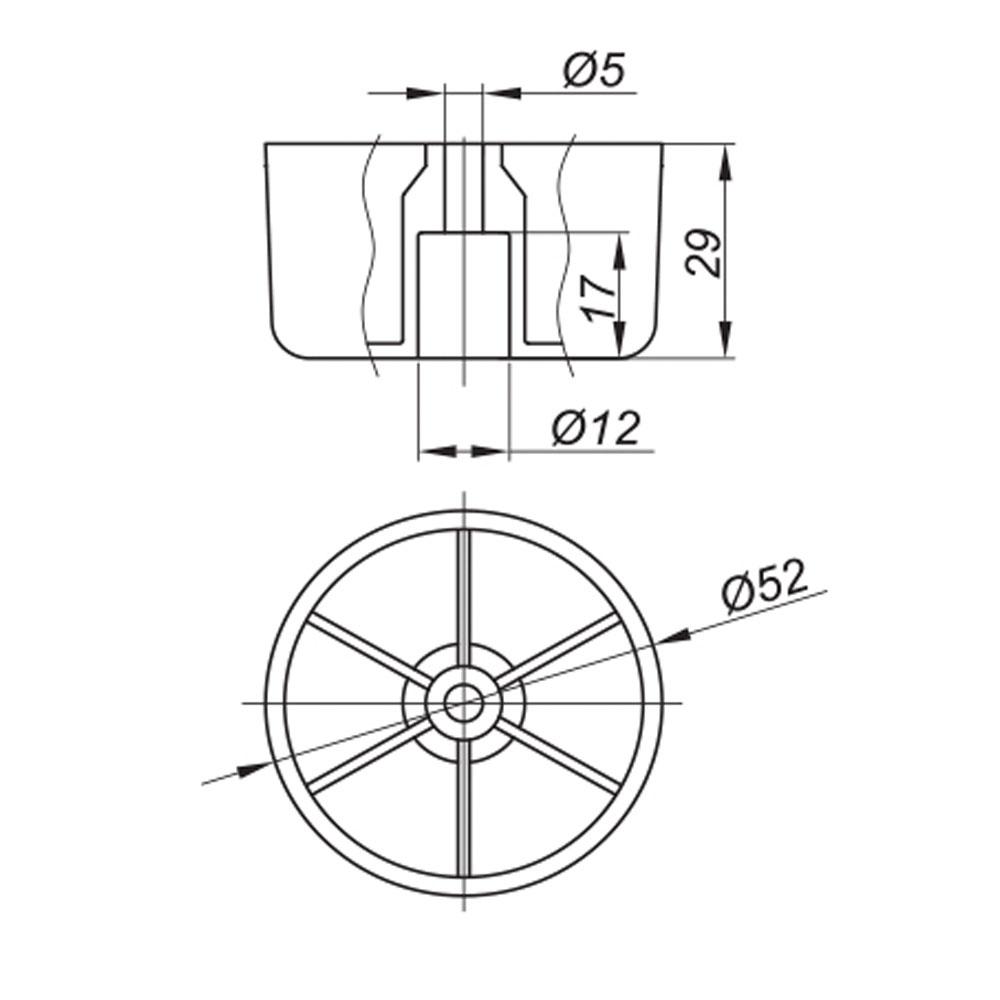 опора мебельная пластиковая круглая диаметр 52мм