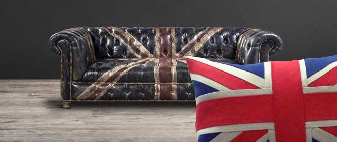 Кожаный диван с английским флагом
